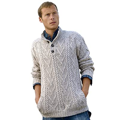 100% Irish Merino Wool Traditional Button Neck Aran Sweater by West End Knitwear, Oatmeal Beige, Small: Clothing