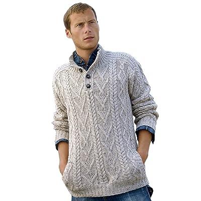 100% Irish Merino Wool Traditional Button Neck Aran Sweater by West End Knitwear, Oatmeal Beige, Small: Clothing