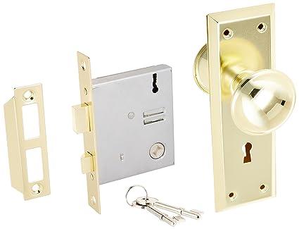 Ultra Hardware 44609 2-1/4u0026quot; Brass Old Time Mortise Interior Door Lock  sc 1 st  Amazon.com & Ultra Hardware 44609 2-1/4