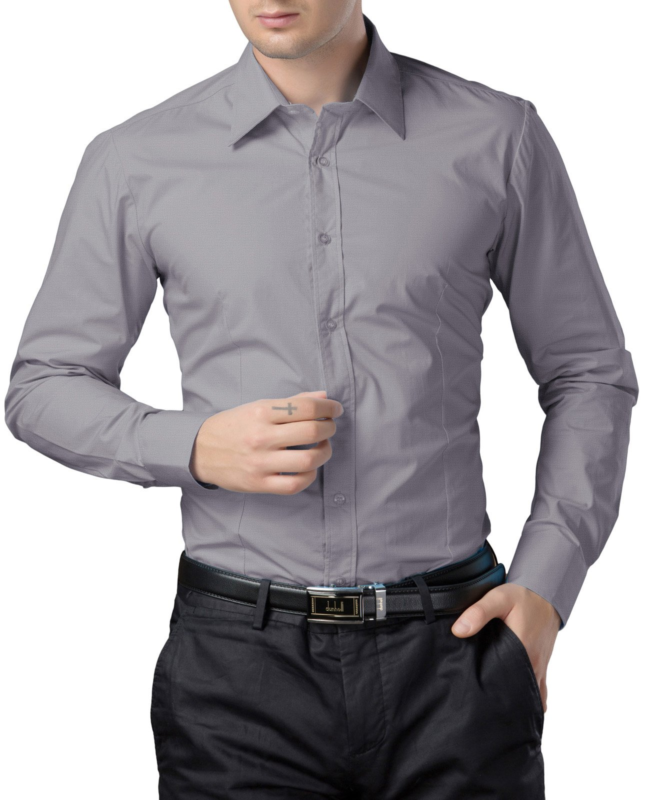 Casual Solid Grey Dress Shirt for Men Slim Fit  CL1044-8,Grey-cl1044,Large