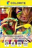 "Colorite 270 gsm 4R (4""x6"") /100 Sheets Professional SATIN MATTE RC WATERPROOF Inkjet Photo Paper"