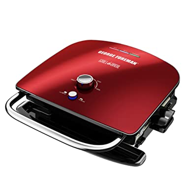 George Foreman GBR5750SRDQ Grill & Broil 7-in-1 Electric Indoor Grill, Broiler, Panini Press, and Waffle Maker, Removable Plates, Red