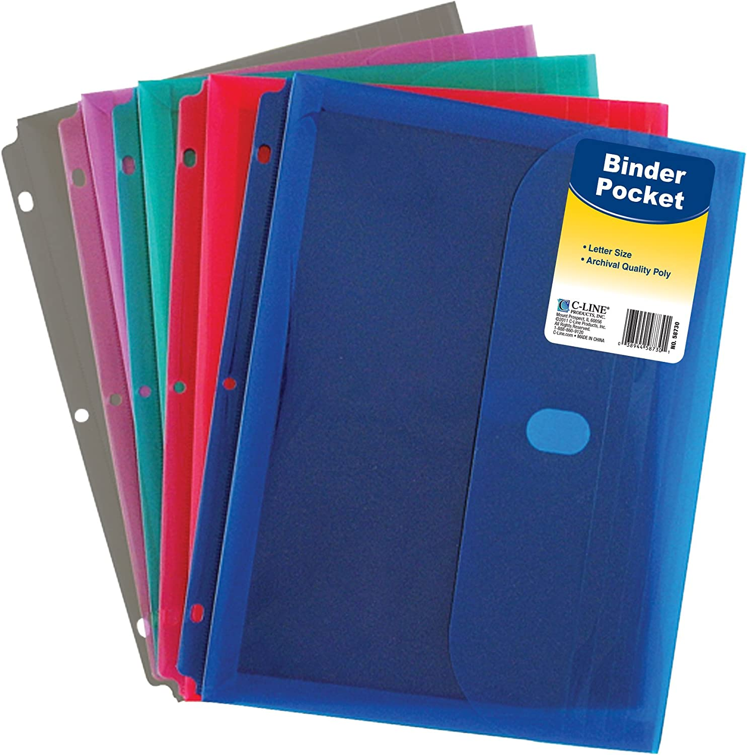 C-Line Super Heavyweight Poly Binder Pocket with Hook & Loop Closure, 1-Inch Gusset, Letter Size, Pack of 36, Assorted Colors (58730) : Office Products
