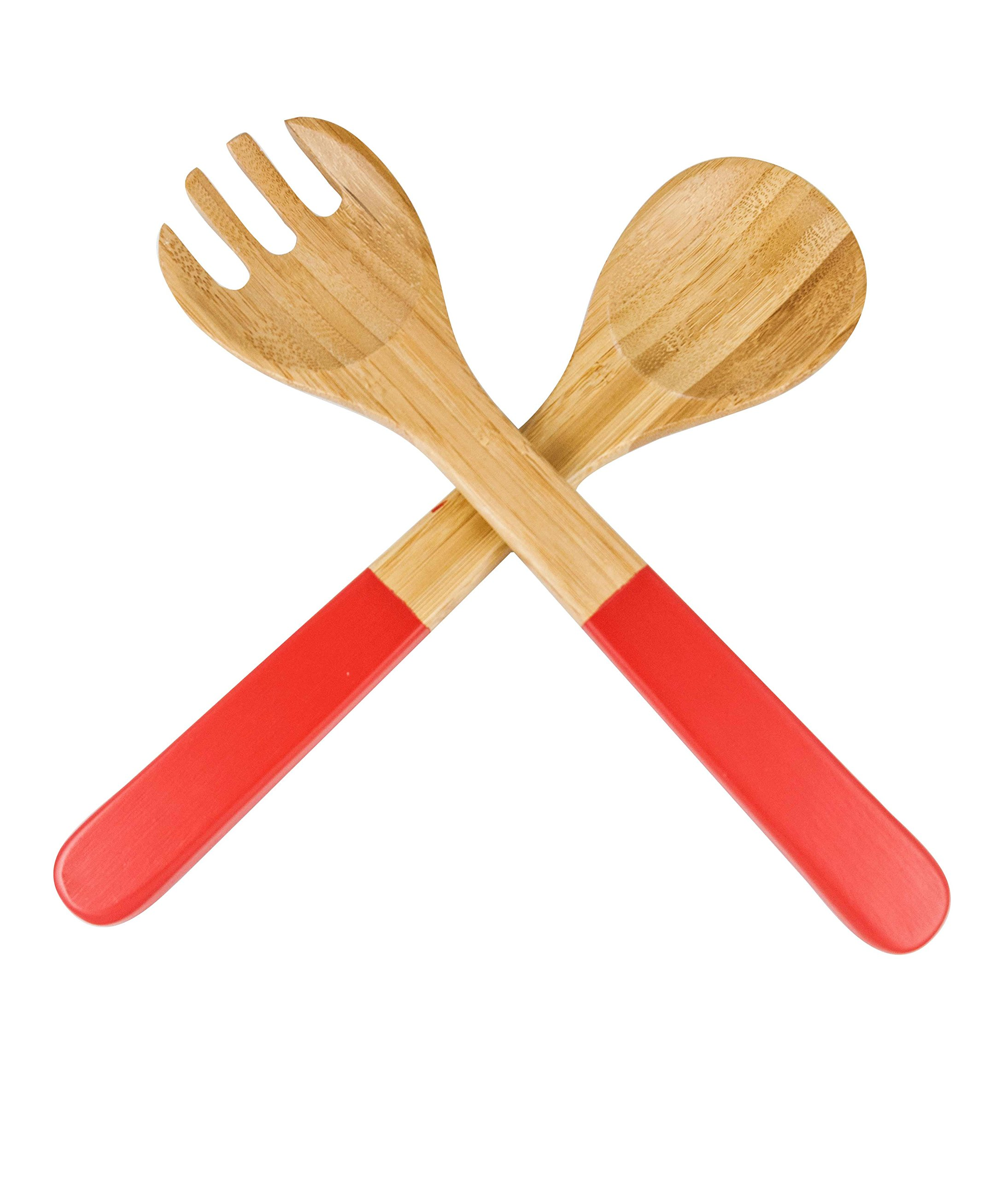 Core Bamboo Contemporary Salad Servers, Strawberry, 2-Pack