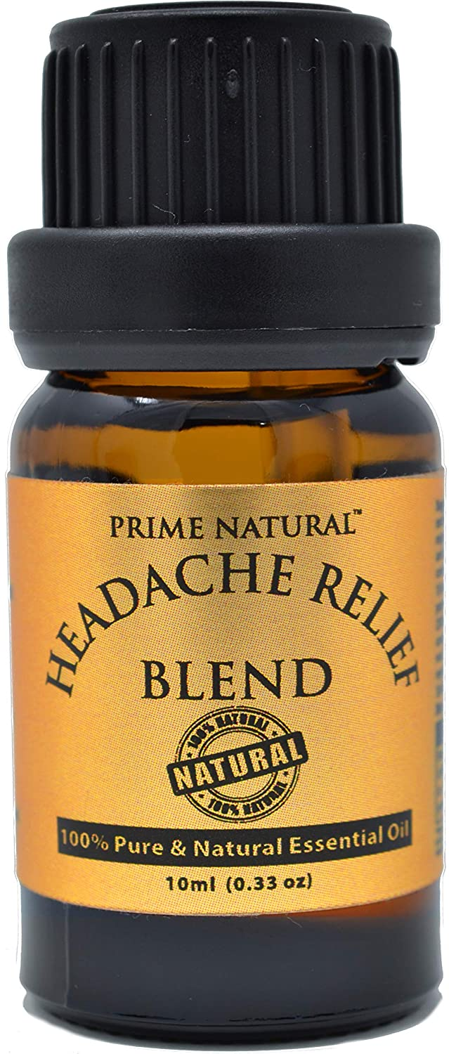 Prime Natural Headache Relief Essential Oil Blend 10ml / 0.33oz - Natural Pure Undiluted Therapeutic Grade for Aromatherapy, Scents & Diffuser - Tension, Relaxation, Sleep, destress, Anti Anxiety
