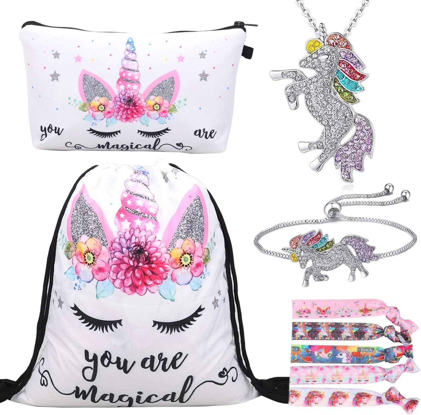 Mochila con cord/ón Bags//Maquillaje Bolsa//Collar Aleaci/ón Cadena//Lazos para el Cabello RLGPBON Pack de 5 Regalos de Unicornio para ni/ñas