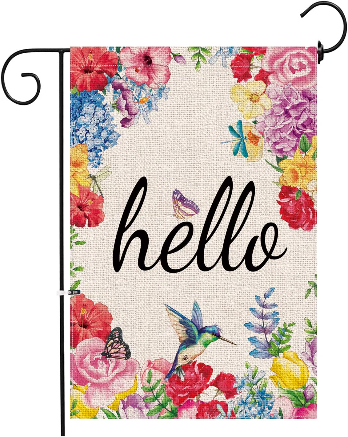 Amazon Com Hexagram Hello Spring Garden Flag Burlap Welcome