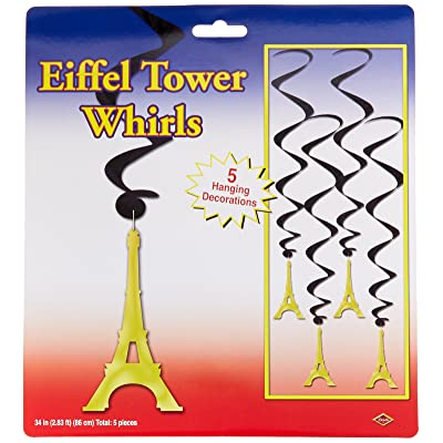 Beistle 54281 Eiffel Tower Whirls, 34-Inch,Black/Gold: Kitchen & Dining