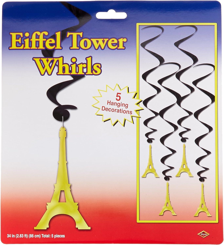Beistle Eiffel Tower Whirls, 34-Inch,Black/Gold