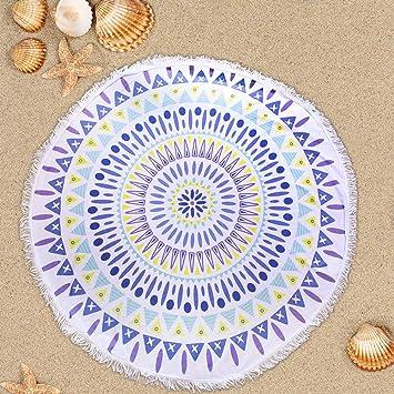 Preciosa Bohemia Manta de Playa Colorida Esterilla de Yoga Perfecta Toalla Mandala para Relajarse en la Arena, Picnic y Decoración en la Pared (blanco): ...