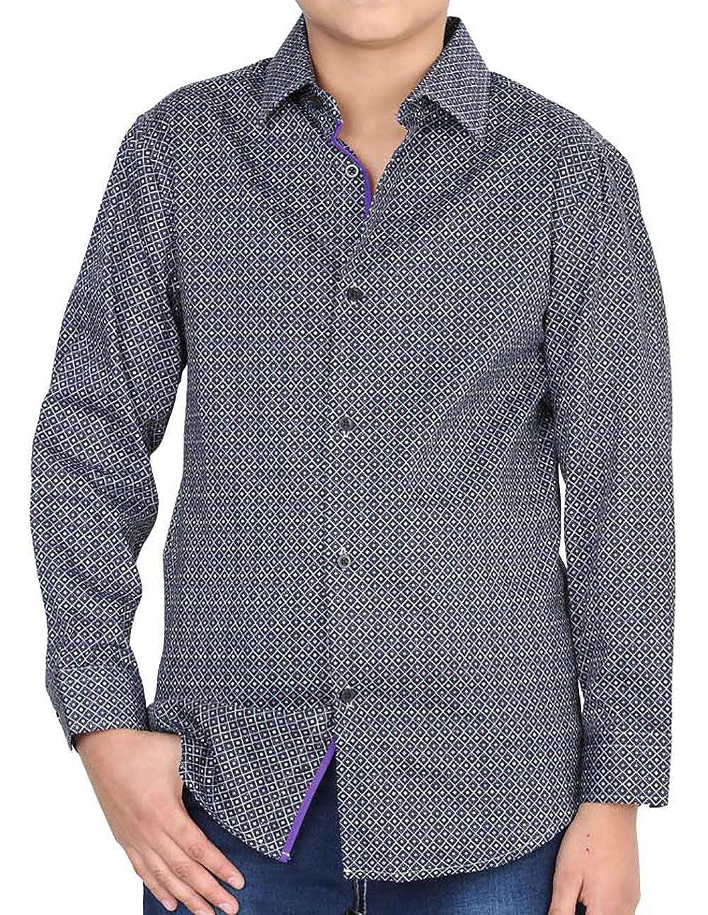 Centenario Boys Casual Shirt Camisa Casual Ni/ño Color Black//Purple