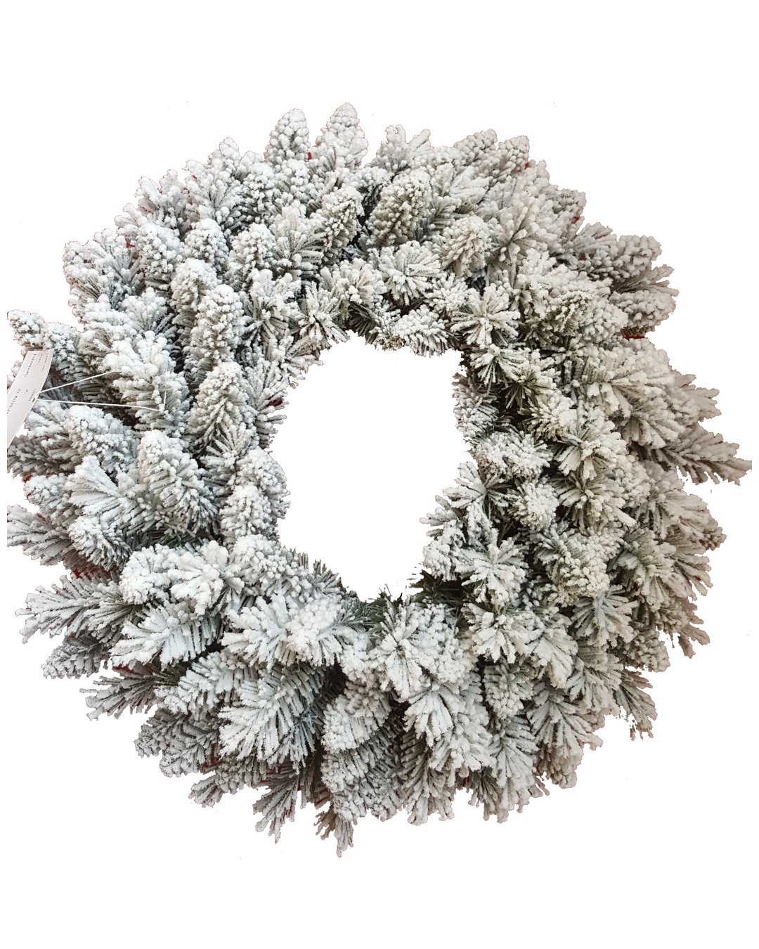 KING OF CHRISTMAS 36'' Pre-Lit Jr Prince Flock Wreath With 150 Warm White LED Lights