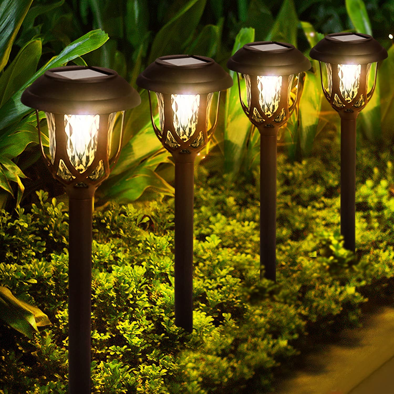Solar Lights Outdoor Decorative, 10 Pack Solar Pathway Lights Waterproof LED Solar Garden Lights Solar Powered Outdoor Landscape Lighting for Yard Patio Walkway Pathway, Warm White