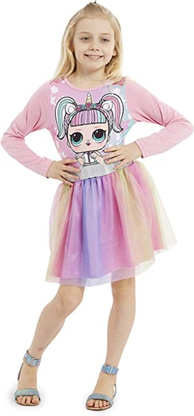 LOL Abbigliamento Bambina L.O.L Vestiti Estivi per Bambini 100/% Cotone Regali Bambina 4 5 6 7 8 9 10 11 12 Anni Abito per Ragazze Surprise Abito da Ragazza Rosa Senza Maniche