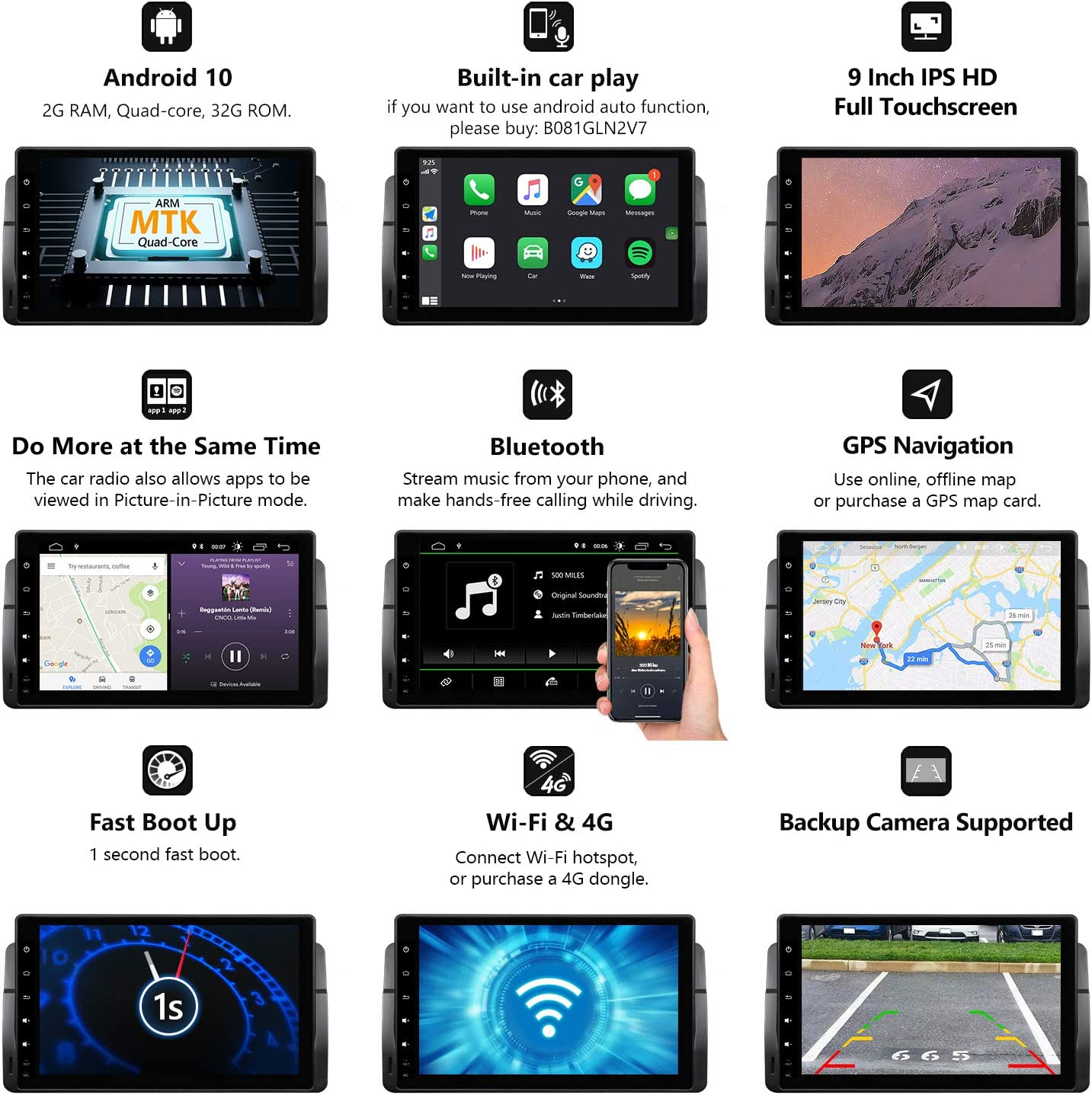 "Eonon 9/"" Car GPS Android 10 Navigation for BMW E46 M3 Radio DAB Head Unit Touch"