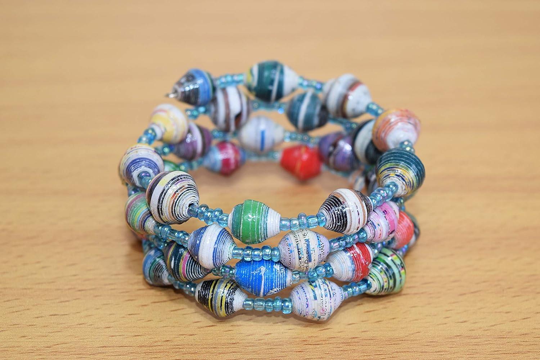 handmade paper bead bracelet set