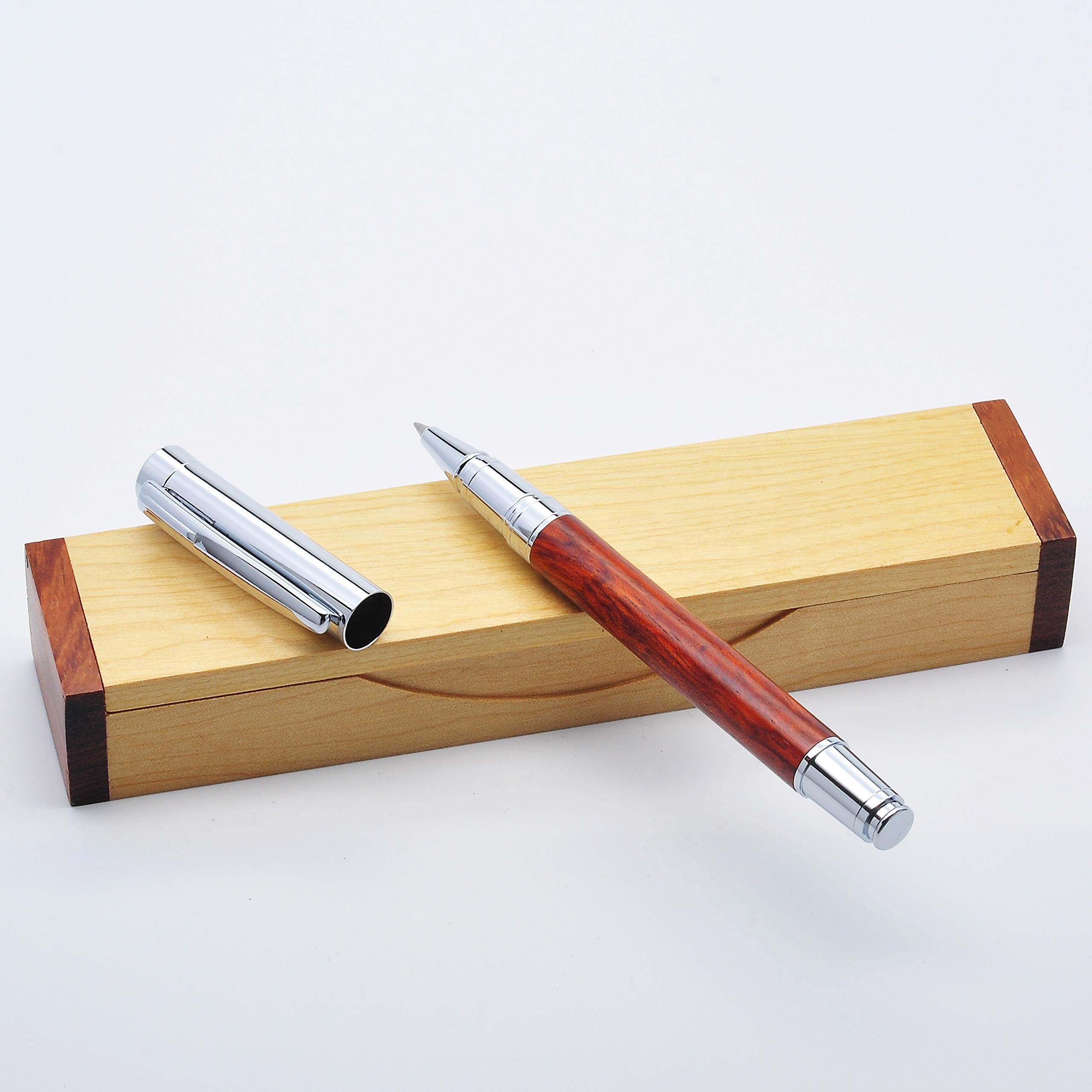 LACHIEVA Rosewood Roller Pen With Elegant Wood Box Pack Germany Schneider Refill- Perfect for Gifts