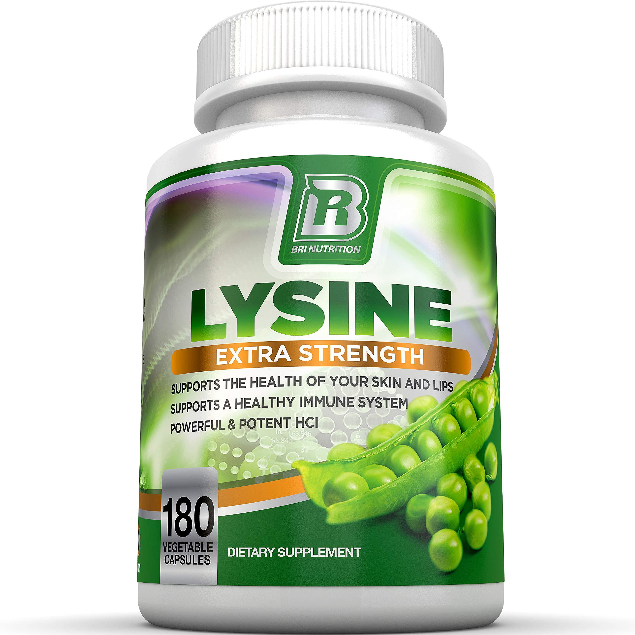 BRI Nutrition L-Lysine 180 Servings Per Bottle - Super 500mg Veggie Capsules by BRI Nutrition