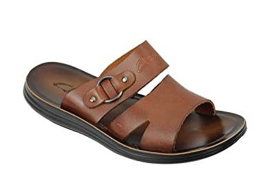1b55aff3a9f995 New Mens Real Polished Leather Sandals Beach Walking Slippers Slider Black  Brown  DK-A95