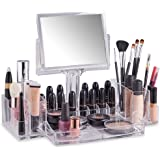 Beautify Clear Acrylic Cosmetic Makeup Organiser with Two-Sided Mirror
