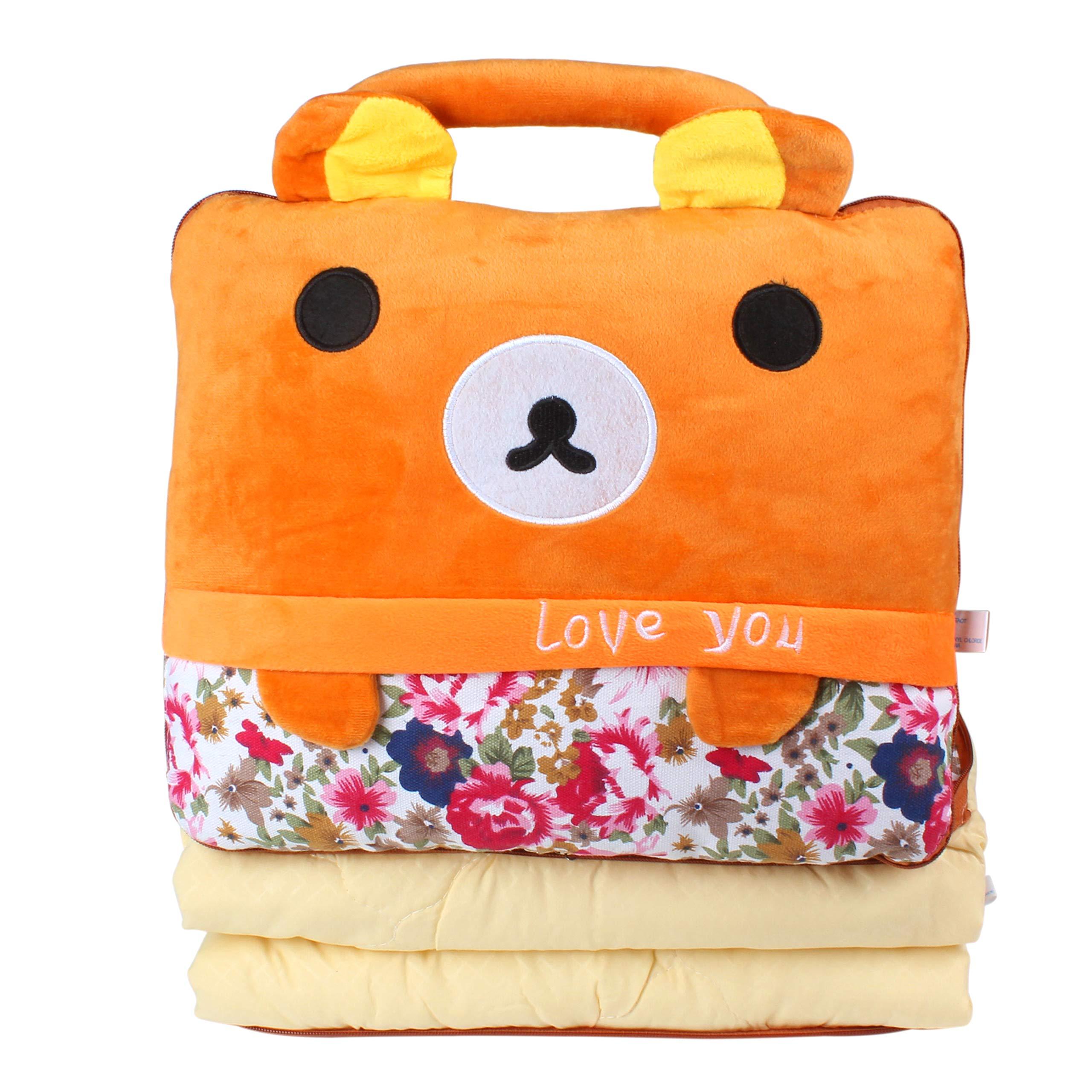Alpacasso 2 in 1 Cute Cartoon Plush Stuffed Animal Motifs Backrest Portable Throw Pillow Blanket Set. (B)