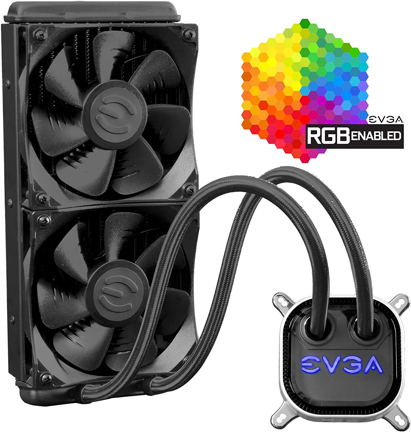 EVGA CLC 280mm All-In-One RGB LED CPU Liquid Cooler, 2x FX13 140mm PWM Fans, Intel, AMD, 5 YR Warranty, 400-HY-CL28-V1