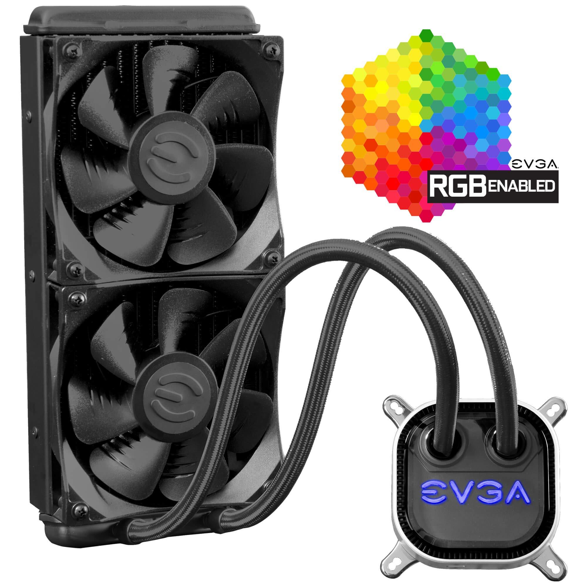 EVGA CLC 240mm All-In-One RGB LED CPU Liquid Cooler, 2x FX12 120mm PWM Fans, Intel, AMD, 5 YR Warranty, 400-HY-CL24-V1 by EVGA