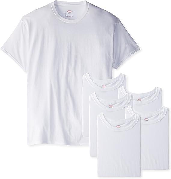 3 Men/'s Tagless Cotton Hanes Crew Neck T-Shirts Large