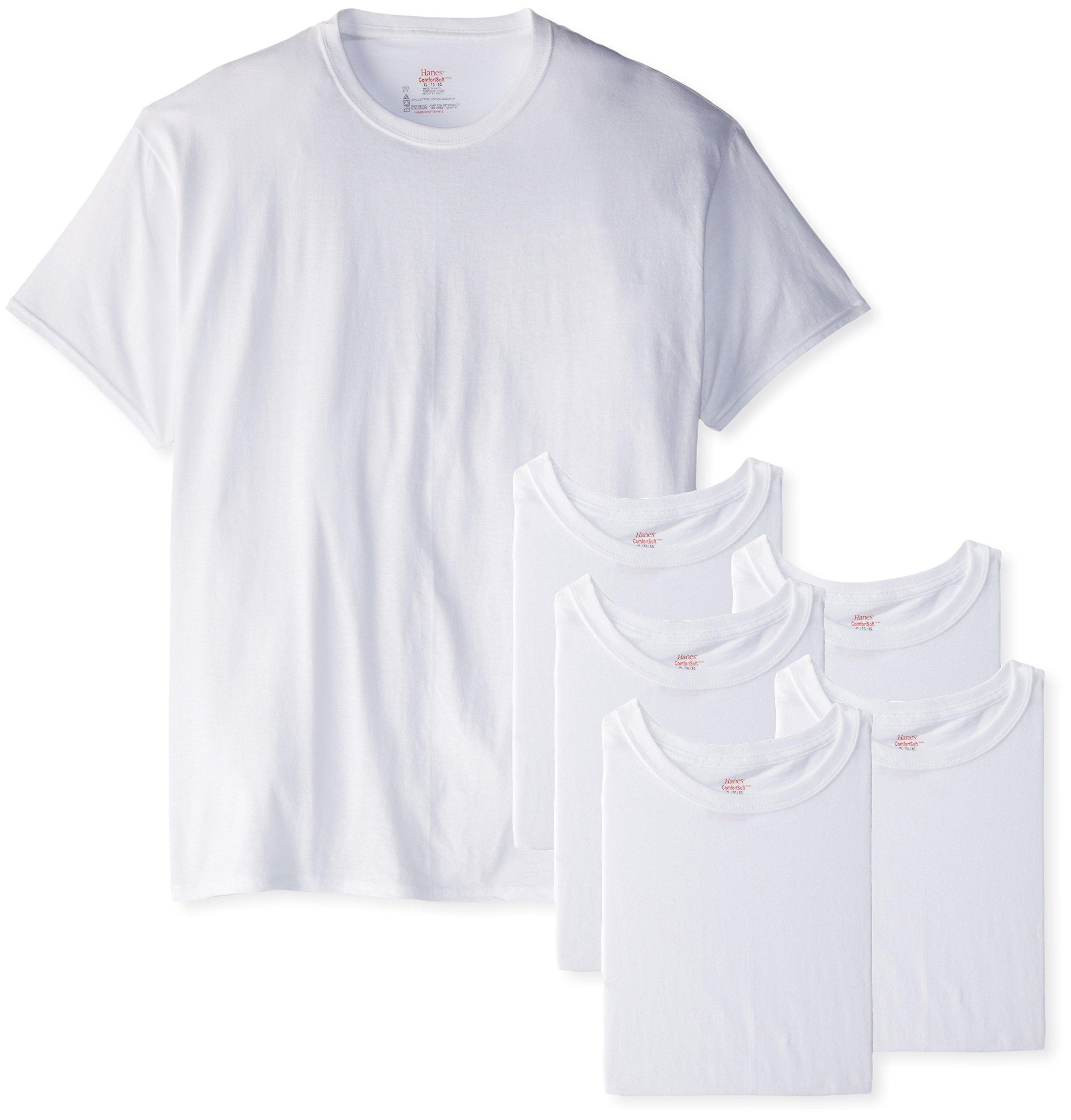 Hanes Men's 6-Pack FreshIQ Crew T-Shirt, White, Large by Hanes