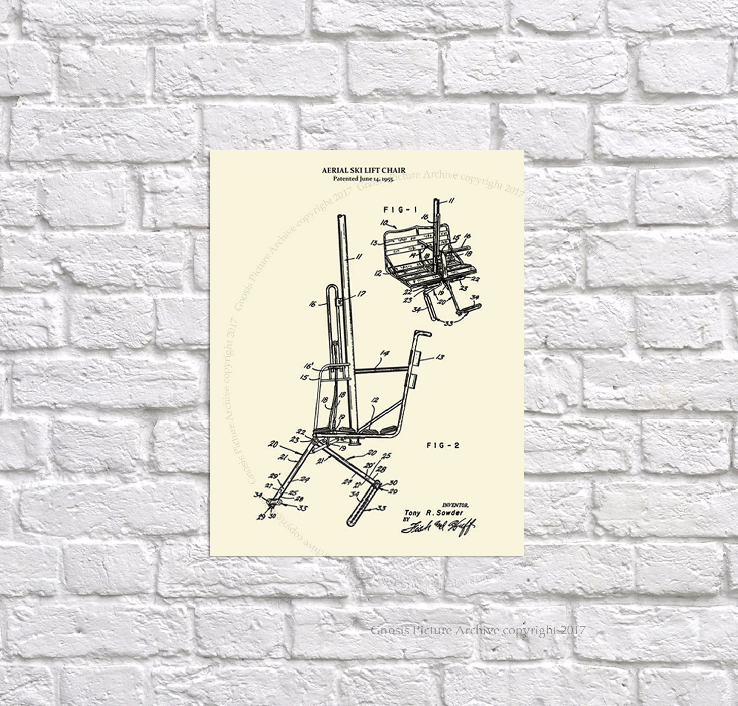Ski Decorations for Home Set of 6 Unframed Skiing Wall Art Prints in Cream Color Patents/_Ski/_Crm6A