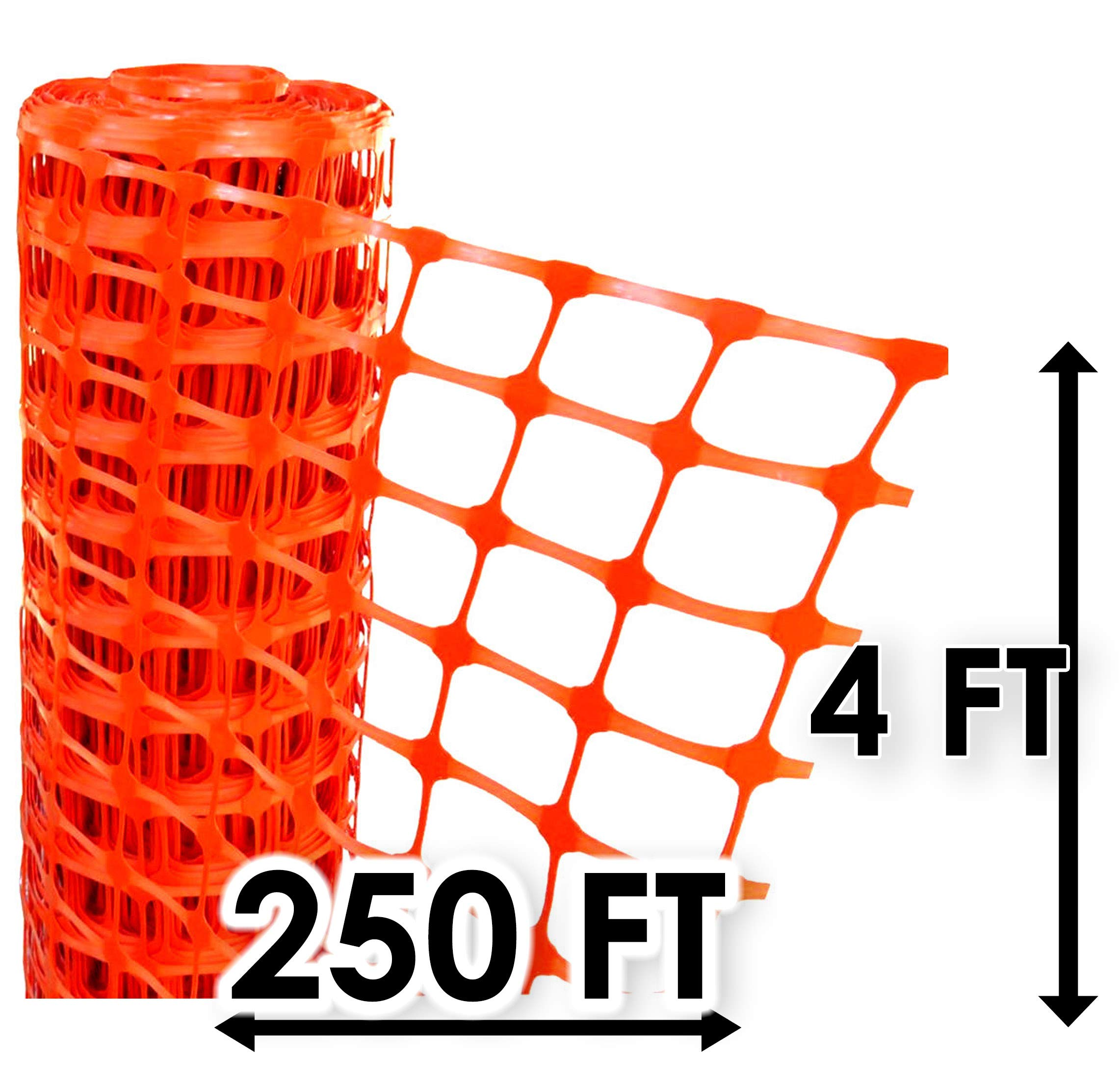 Electriduct Plastic Construction Fencing: 250 Feet Orange Safety Barrier Fence Roll by Electriduct
