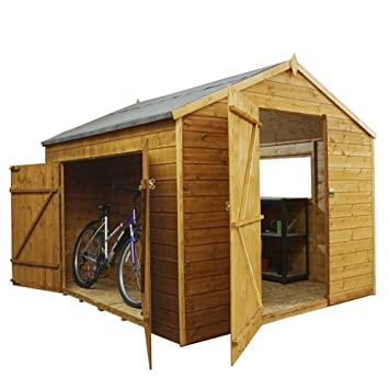 8 x 8 cobertizo (madera, machimbre Multi Store - doble puerta, ventana, fieltro incluido, bicicleta tienda - por Walton: Amazon.es: Jardín
