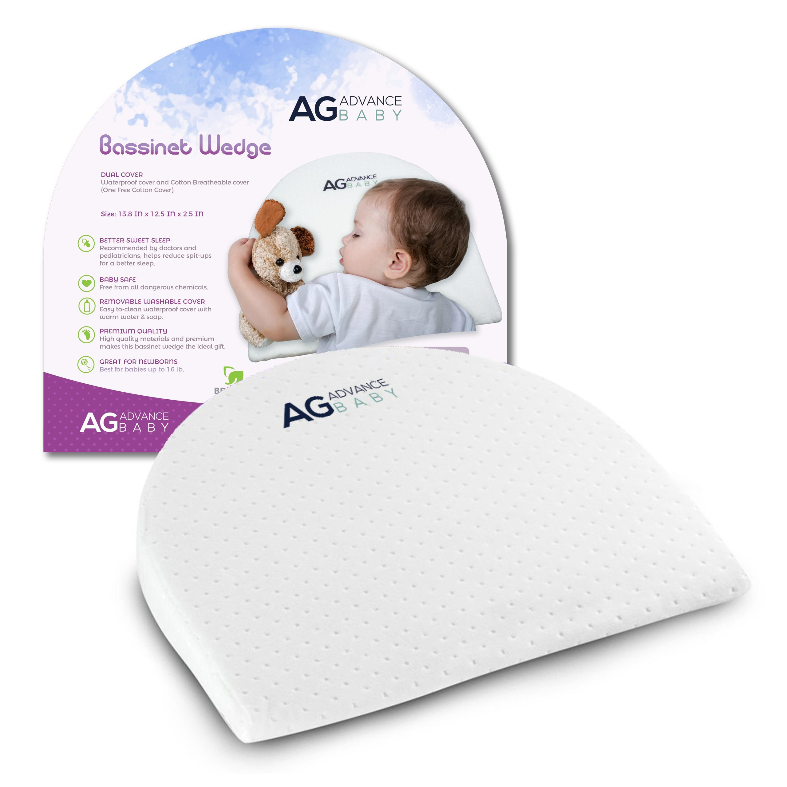 AG Advance Universal BASSINET WEDGE PILLOW For Baby Newborn | Reduce Reflux and Improve Sleep | 100% PREMIUM COTTON Handcrafted Cover | Also used as Pregnancy Pillow Wedge | Washable Removable Cover