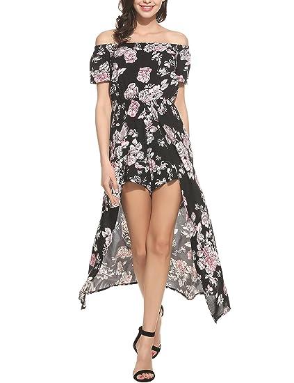 ELESOL Women s Long Sexy One Shoulder Flowy Casual Short Sleeve Maxi Dress  Black S d276d23d8