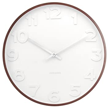Present Time Karlsson Mr White Numbers Wall Clock With Wooden Case 15 Inch Diameter