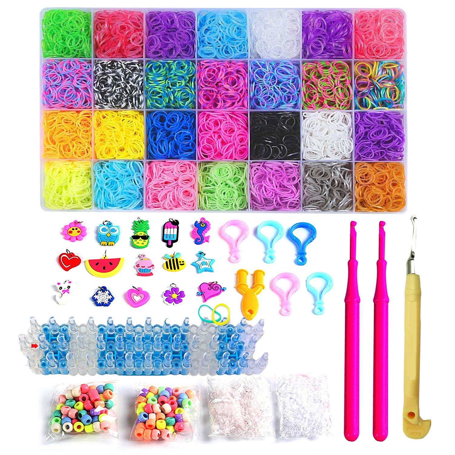 Rainbow Color Loom RubberBands Kit Colorful Bands Refill Bracelet Making Set Including6800 Pcs Rubber Loom Bands 200 Pcs Slips 100 Beads 15 Charms 8 Tools More for DIYWeaving Crafting by Bomach (Image #1)