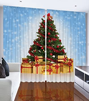 Ambesonne Christmas Tree Blue Snowy Sky Bedroom Living Room Dining Room Kids Youth Room Curtain Panels One Of A Kind 2 Panel Set Machine Washable