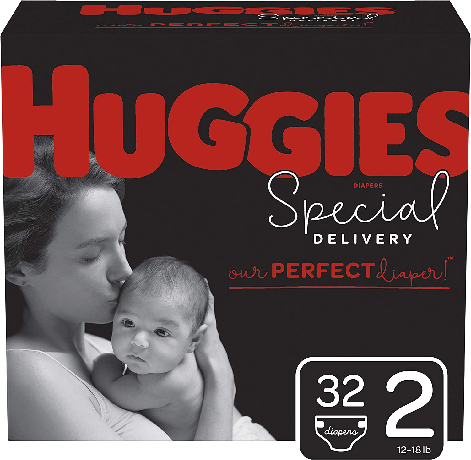 Huggies Special Delivery Hypoallergenic Diapers, Size 2 (12-18 lb.), 32 Ct, Jumbo Pack