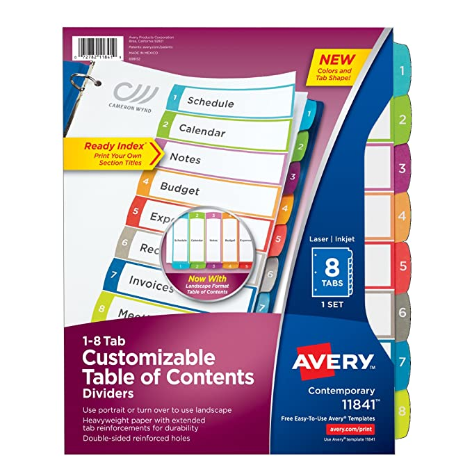 amazon com avery customizable table of contents dividers 8 tab