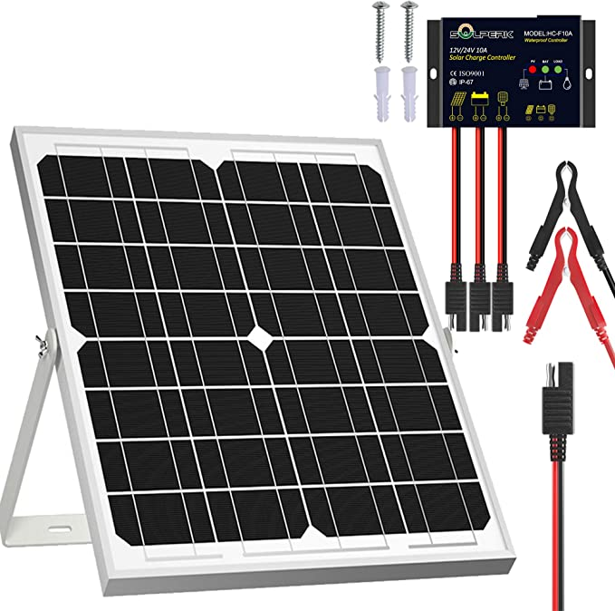 SOLPERK Solar Panel Kit 20W 12V, Solar Battery Trickle Charger or Boat Car RV Motorcycle Marine Automotive