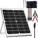 SOLPERK Solar Panel Kit 20W 12V, Solar Battery Trickle Charger Maintainer