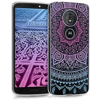 kwmobile Funda para Motorola Moto G6 Play - Carcasa de TPU para móvil y diseño de Sol hindú en Azul/Rosa Fucsia/Transparente