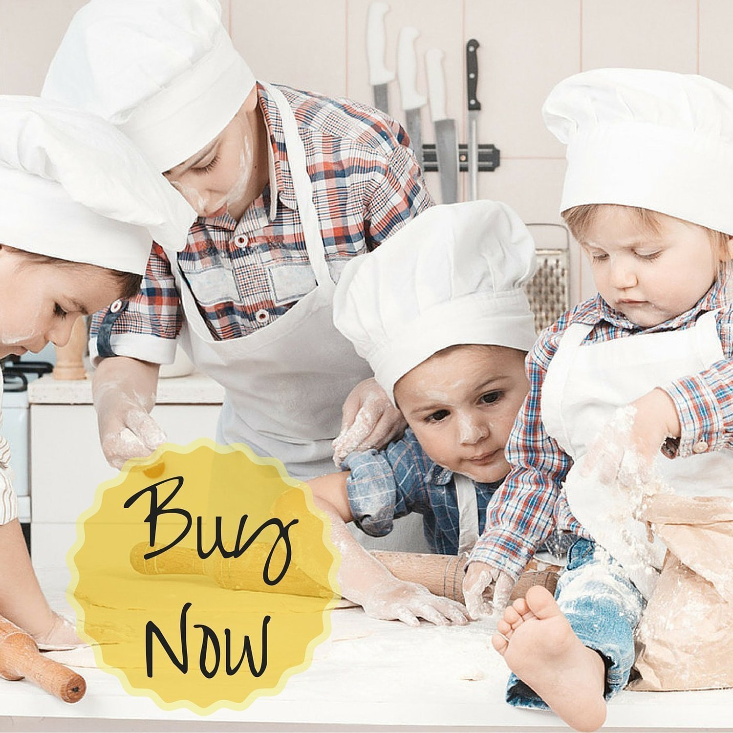 Odelia ObviousChef Kids - Child's Chef Hat Apron Set, Kid's Size, Children's Kitchen Cooking and Baking Wear Kit for Those Chefs in Training, Size (M 6-12 Year, White) by Odelia (Image #9)
