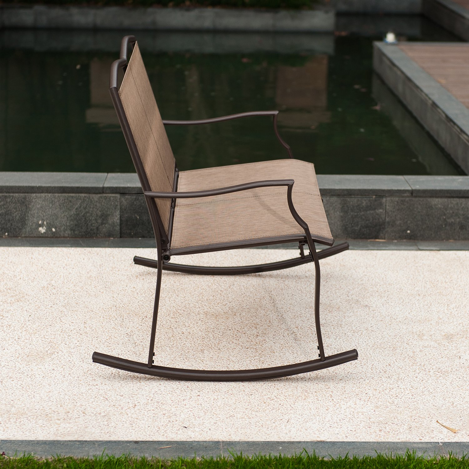 Patio Loveseat Bench, Glider Swing Rocking Chair with Steel Frame for 2 Persons by SLN (Image #4)