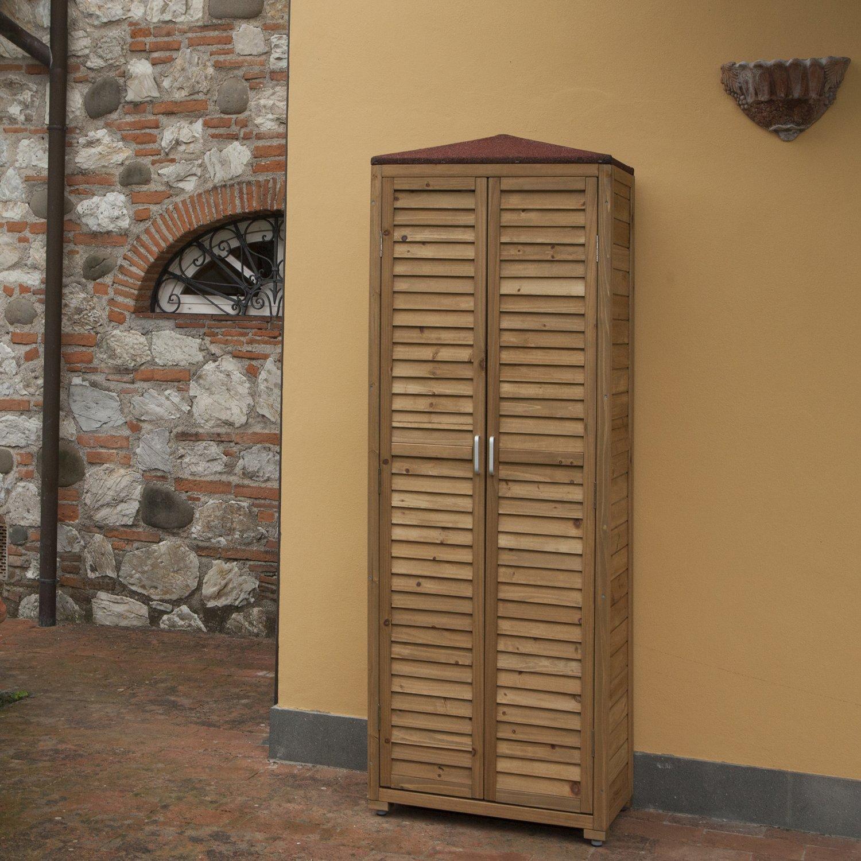 Armadio Esterno portaoggetti per terrazza e giardino in legno 70 x ...