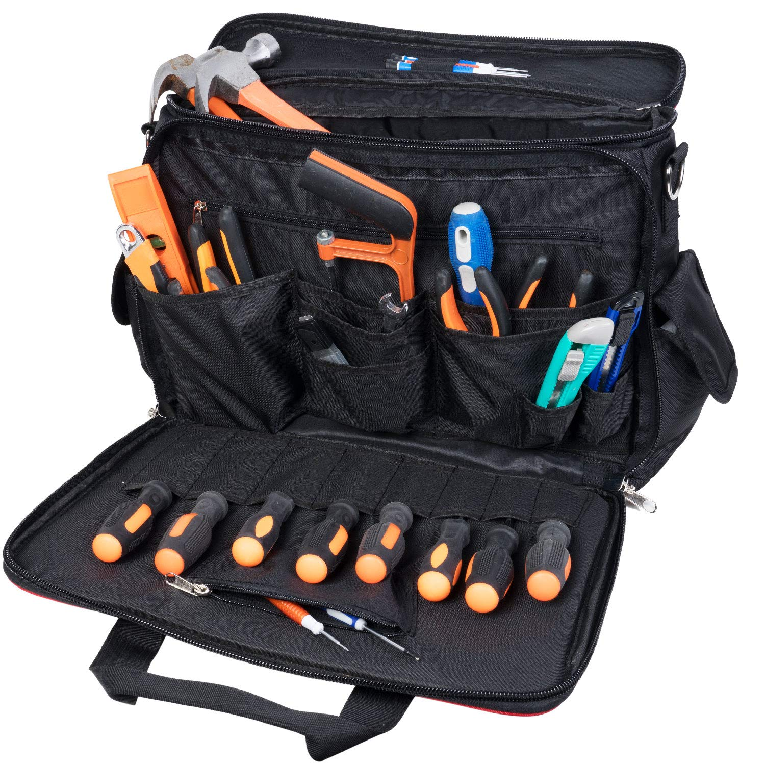 Lifewit Tool Storage Bag - 18 Inch Wide Mouth Shoulder Electrician Tool Pouch Water Proof,Tradesman Pro Organizer Pockets