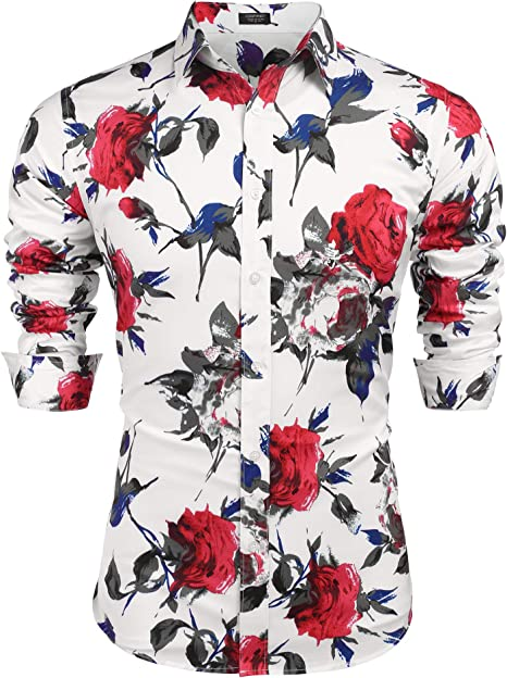 Men Shirts Casual Long Sleeve Button-Down T-Shirts Fashion 3D Floral Printing Slim Dress Shirts