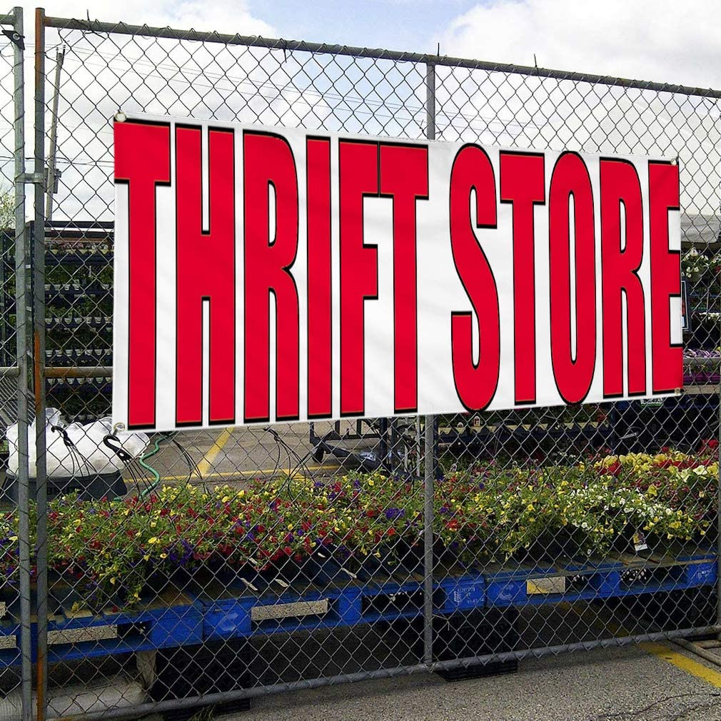 Multiple Sizes Available 4 Grommets Vinyl Banner Sign Thrift Store #1 Style D Business Shopping Marketing Advertising Red Set of 3 24inx60in