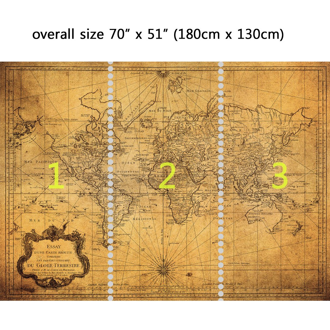 Wall Mural Vintage Map of the World, Peel and Stick Repositionable ...