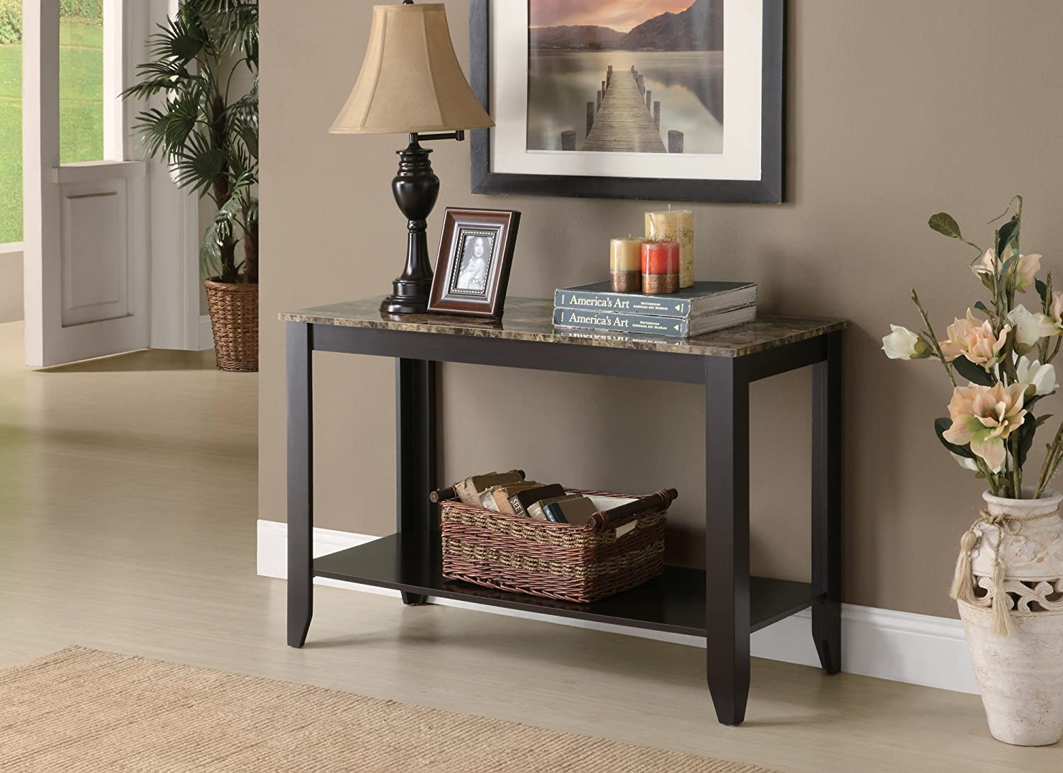 amazoncom monarch specialties dark taupe sofa console table kitchen u0026 dining